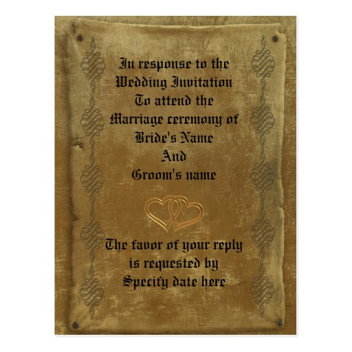 Medieval Wedding Invitations: Medieval Wedding Invitation Response Card