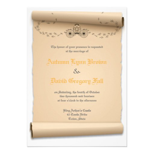 "Medieval Wedding Invitations: Medieval Wedding Invitations Pumpkin Carriage 5"" X 7"