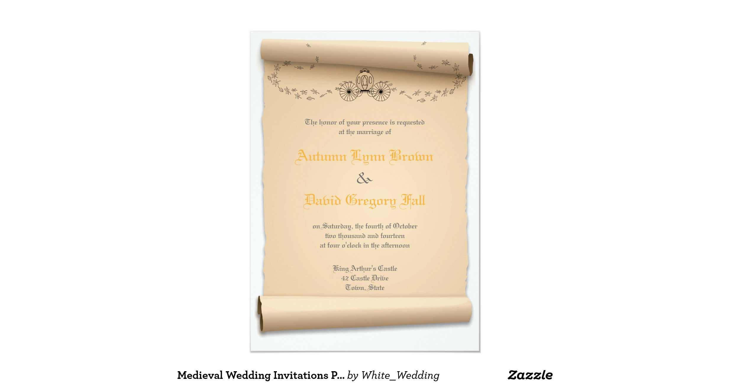 Medieval Wedding Invitation Wording: Medieval_wedding_invitations_pumpkin_carriage