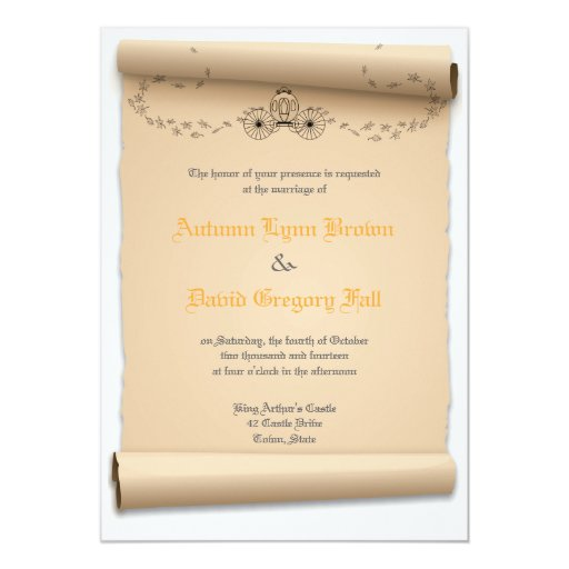Medieval Wedding Invitations: Medieval Wedding Invitations Pumpkin Carriage