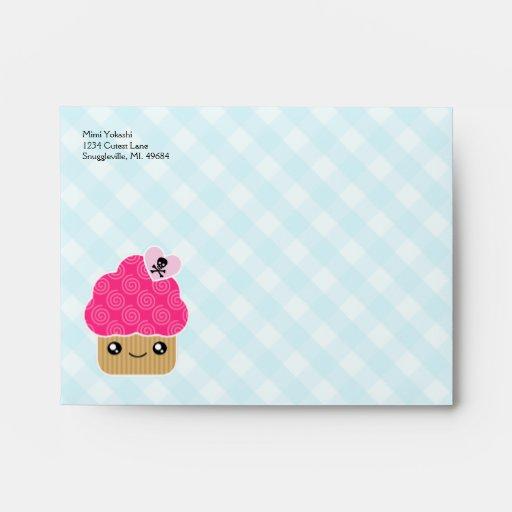 Mega Kawaii Evil Cute Cupcake A2 Envelopes | Zazzle