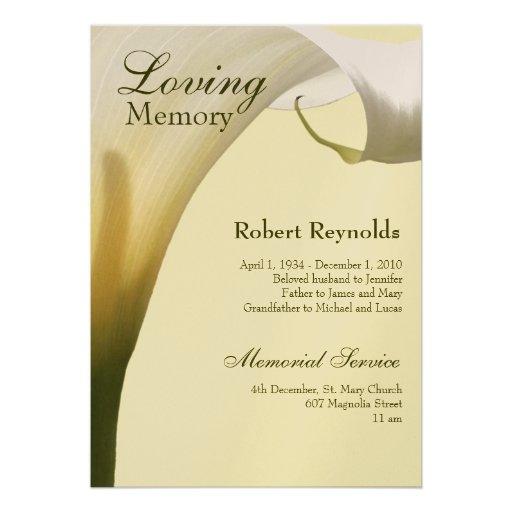 Personalized in memoriam invitations for In memoriam cards template
