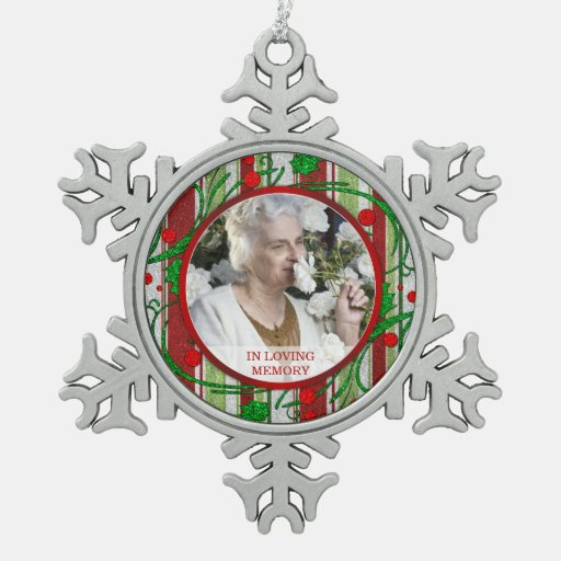 Memorial Photo Christmas Holly Berries Ornaments