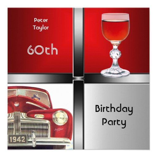 Mens 60th Birthday Party Red Metal Silver Car Invitations