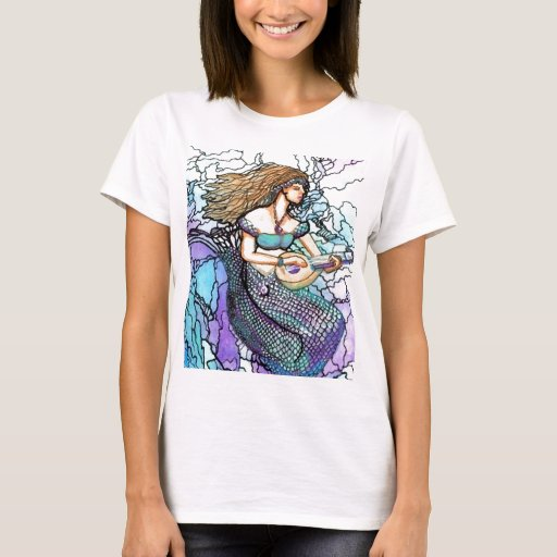 Mermaid Playing Lute Turquoise T-Shirt