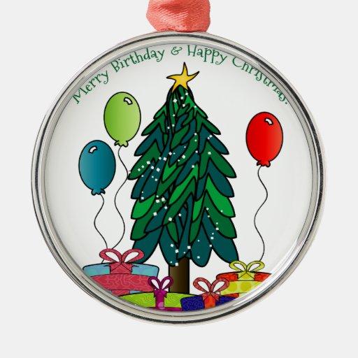 Merry Birthday, Happy Christmas! Metal Ornament | Zazzle