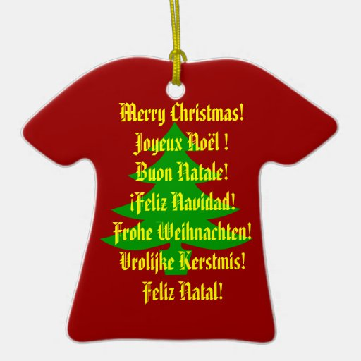 Merry Christmas In 6 Languages Double Sided T Shirt