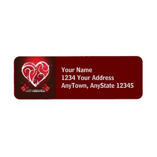 Merry Christmas Love Heart Template Custom Return Address