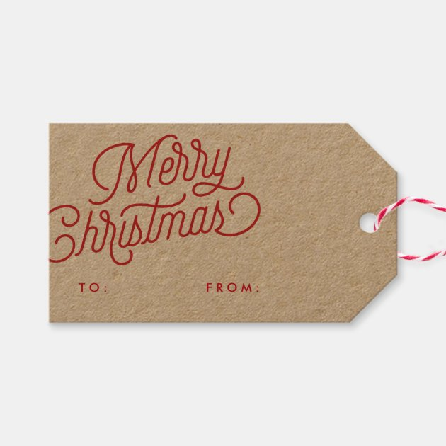 Merry Christmas Gift Tags.Merry Christmas Script Holiday Gift Tag Pack Of Gift Tags