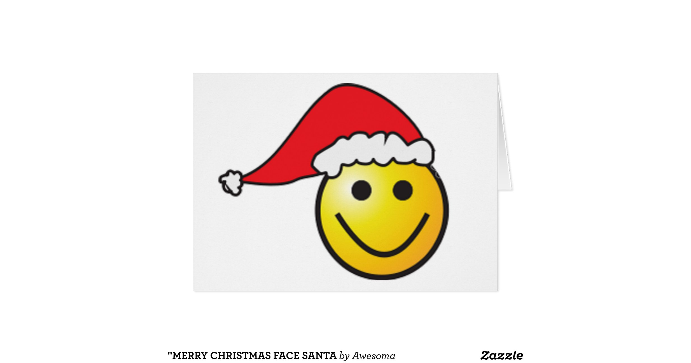 """MERRY CHRISTMAS"" SMILEY FACE SANTA GREETING CARD"