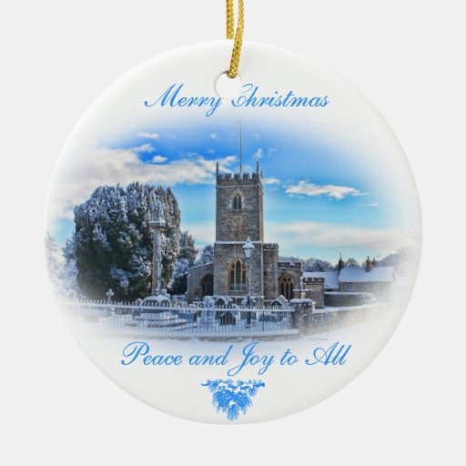 Painting Church In Snow Religious Christmas Ceramic: Merry Christmas {Trull Church In Snow} Ceramic Ornament