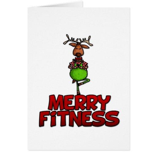 merry fitness  yoga  reindeer in tree posture card  zazzle