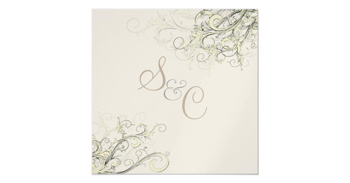 Cream And Gold Wedding Invitations: Metallic Gold + Cream Swirls Wedding Invitations