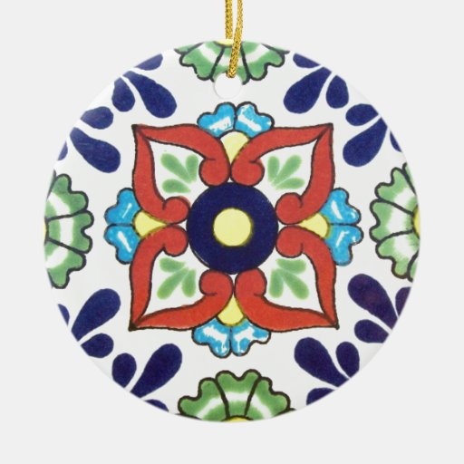 Mexican Talavera Tile (red, Green, Yellow, Blue) Christmas