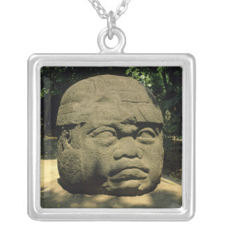 Sterling Silver Olmec Mask Pendant c/w Chain |Olmec Head Necklace
