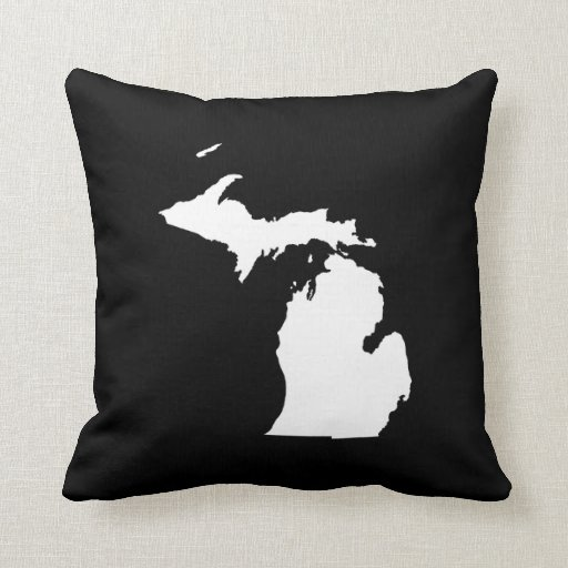 michigan in white and black pillow. Black Bedroom Furniture Sets. Home Design Ideas