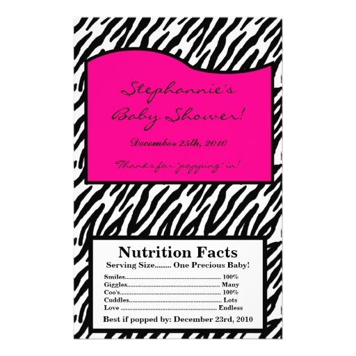 Microwave Popcorn Wrapper Hot Pink Zebra Print Flyer