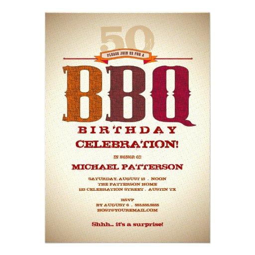 """Milestone Birthday BBQ Celebration Invitation 5"""" X 7"""