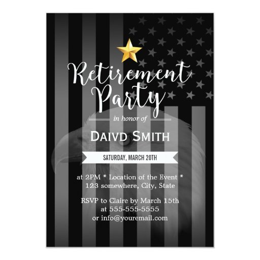 Military Gold Star Bald Eagle US Flag Retirement Card