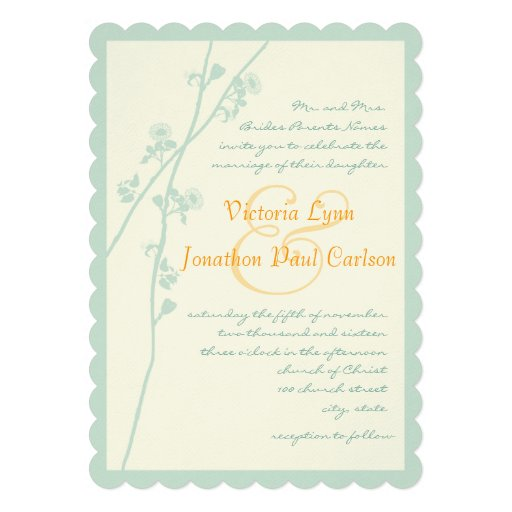 """Coral And Mint Wedding Invitations: Mint And Coral Flower Wedding Invitation 5"""" X 7"""