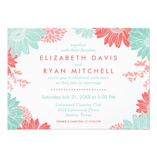 """Coral And Mint Wedding Invitations: Mint And Coral Modern Floral Wedding Invitation 5"""" X 7"""
