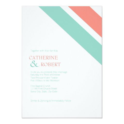 Coral And Mint Wedding Invitations: Mint And Coral Striped Wedding Invitation