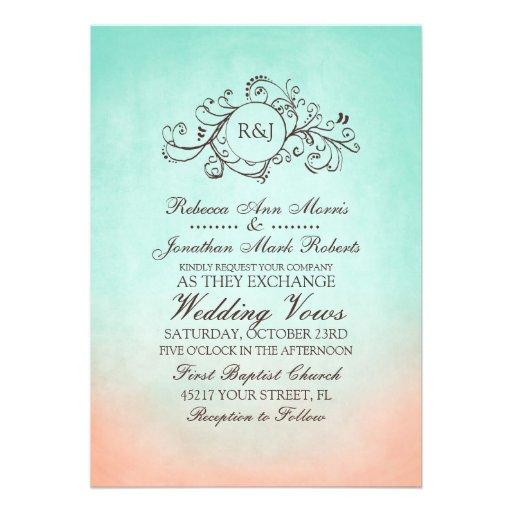 Personalized Mint And Peach Wedding Invitations Custominvitations4u Com
