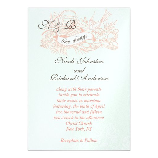 Coral And Mint Wedding Invitations: Mint Green Coral Pink Vintage Wedding Invitation
