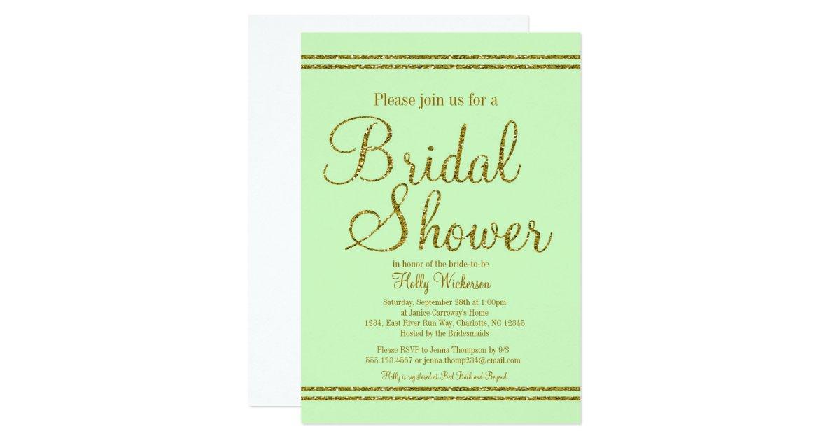 Mint Green And Gold Wedding Invitations: Mint Green & Gold Bridal Wedding Shower Invitation