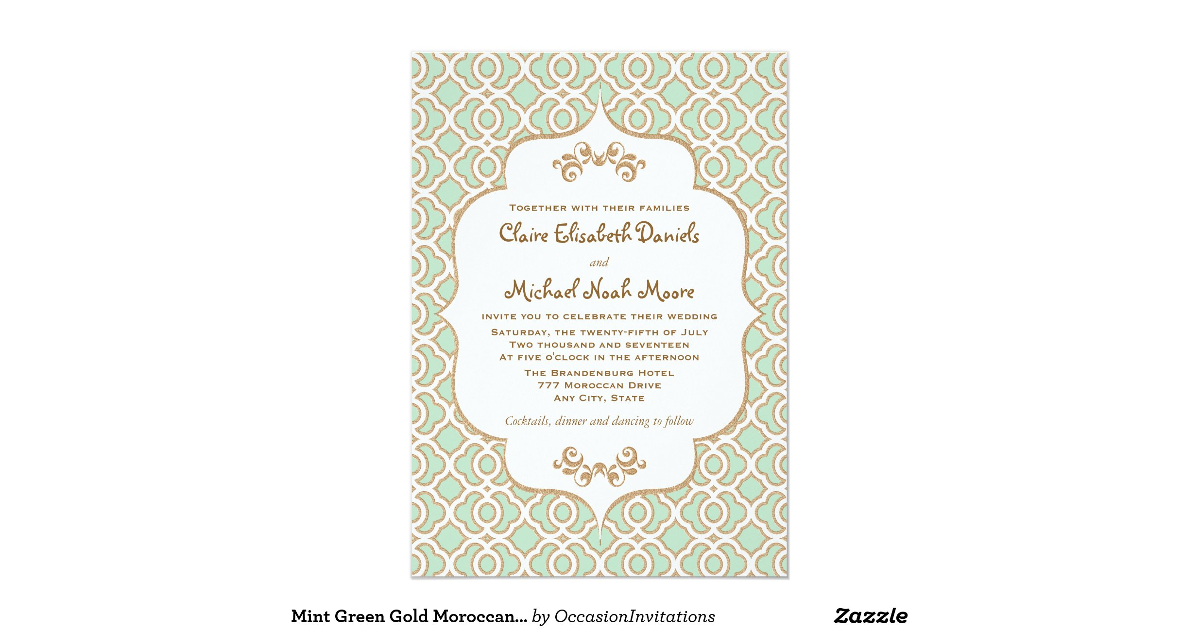Moroccan Wedding Invitations: Mint_green_gold_moroccan_wedding_invitations