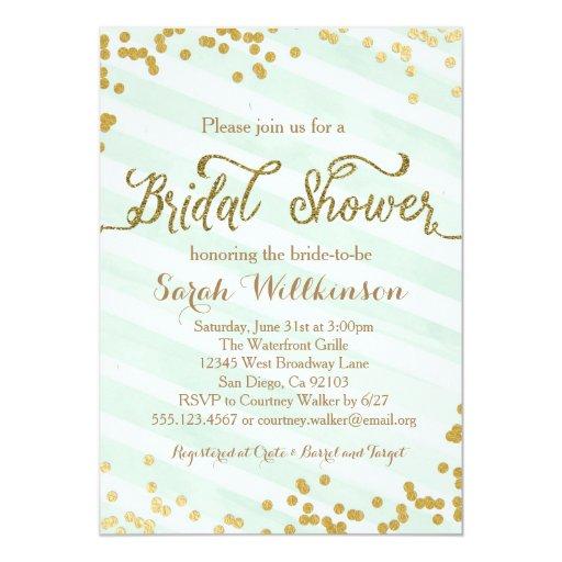 Mint Invitations Wedding: Mint Green & Gold Wedding Bridal Shower Invitation