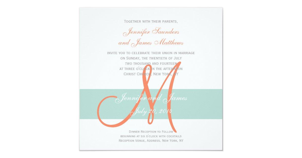 Orange And Green Wedding Invitations: Mint Green Orange Monogram Names Simple Wedding Invitation