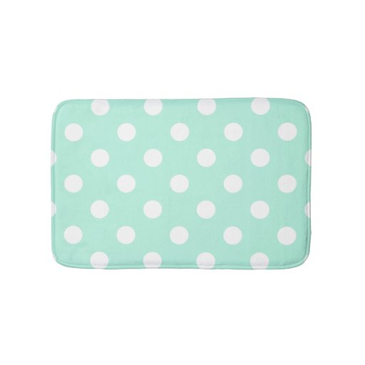 Mint Green Polka Dots Bathroom Rug Zazzle