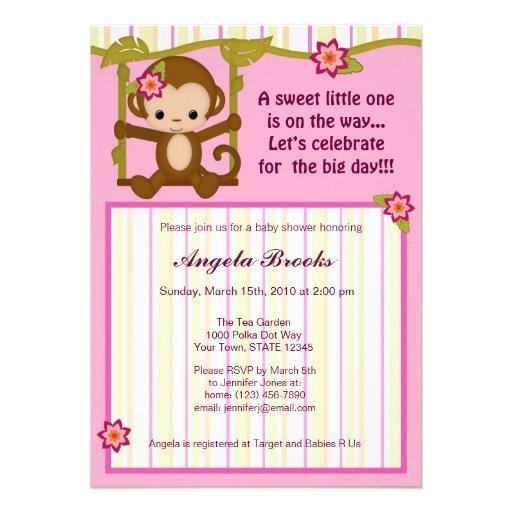 """Miss Monkey Baby Shower Invitations Girl 5"""" X 7"""
