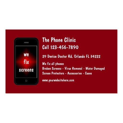 mobile phone repair business card zazzle. Black Bedroom Furniture Sets. Home Design Ideas