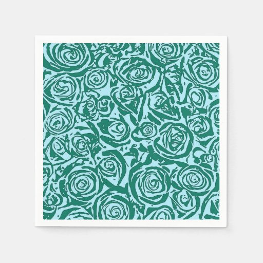 Modern Abstract Rose Pattern, Teal and Aqua Napkin | Zazzle