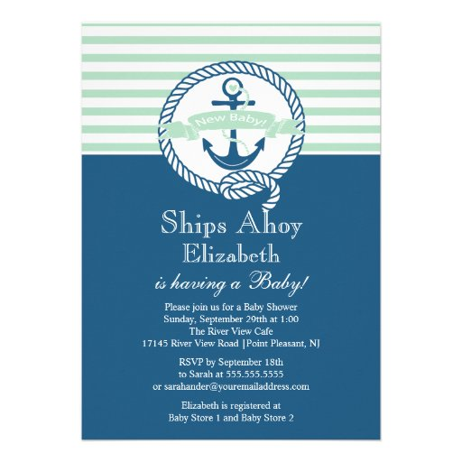 Modern Baby Shower Invitations: Personalized Nautical Baby Invitations