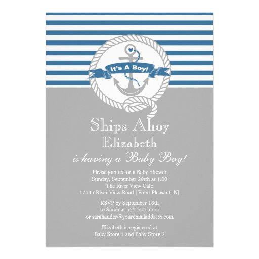 Modern Baby Shower Invitations: Modern Anchor Nautical Sailboat Boy Baby Shower 5x7 Paper