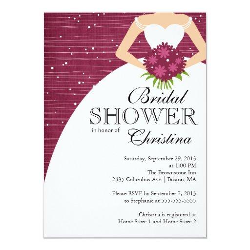 Www Zazzle Com Wedding Invitations: Modern Beautiful Bride Bridal Shower 4.5x6.25 Paper