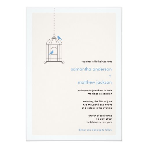Wedding Invitations Birdcage: Modern Birdcage Wedding Invitation - Blue