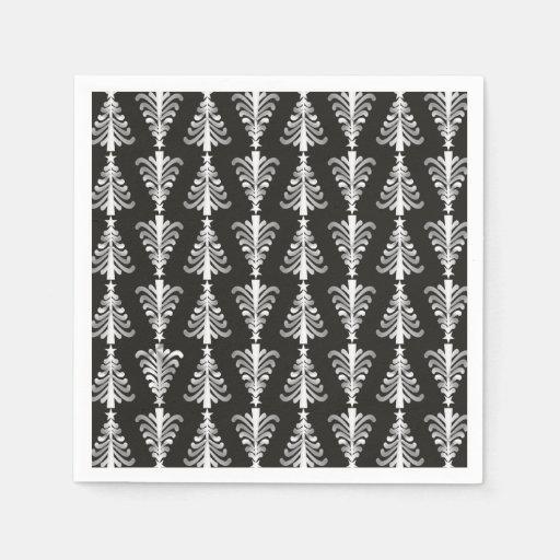 Christmas Tree Napkin Pattern: Modern Black And Silver Christmas Trees Pattern Paper