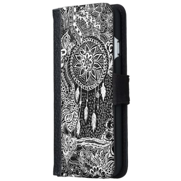 timeless design ce3e7 fc93a Modern Black White Dreamcatcher Floral Pattern IPhone 6 Wallet Case
