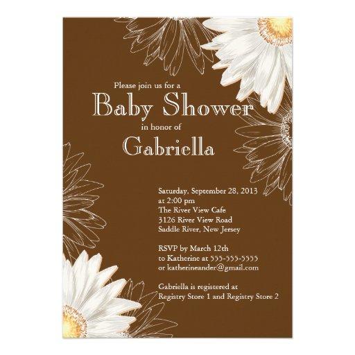 Modern Brown & White Gerbera Daisy Baby Shower 5x7 Paper