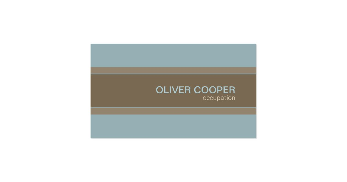 Modern business card Earth colors Blue and Brown   Zazzle