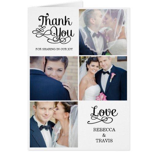 modern calligraphy wedding thank you card black  zazzle