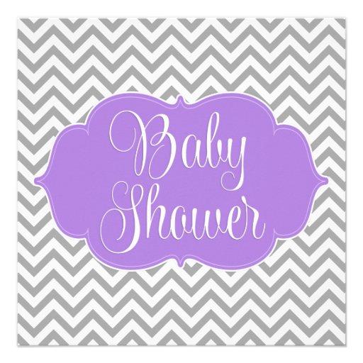Modern Chevron Purple Gray Girl Baby Shower 5.25x5.25