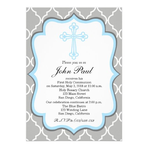 Modern Communion Invitation Quatrefoil For Boys Zazzle