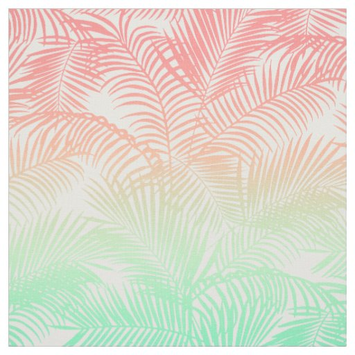 Modern coral turquoise tropical palm trees pattern fabric ...
