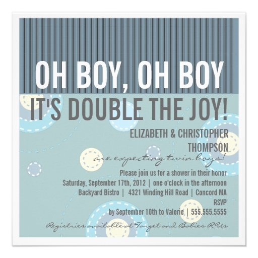 Modern Baby Shower Invitations: Modern Couples Twin Boy Baby Shower Invitation 5.25