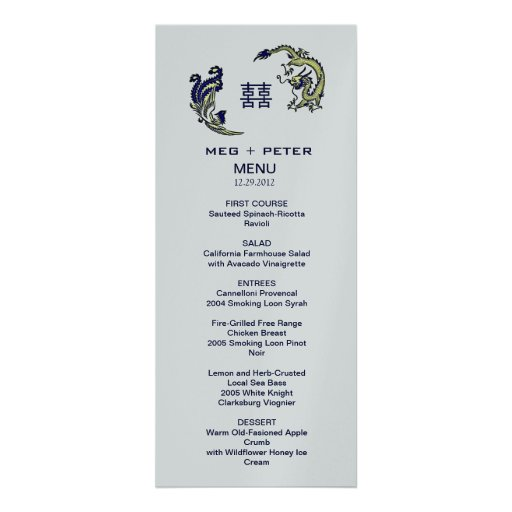 Chinese Wedding Food Menu: Modern Dragon-Phoenix Chinese Wedding Menu 4x9.25 Paper
